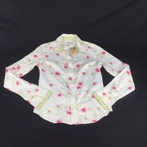 RW & CO Flower Print Button Up Shirt Size S